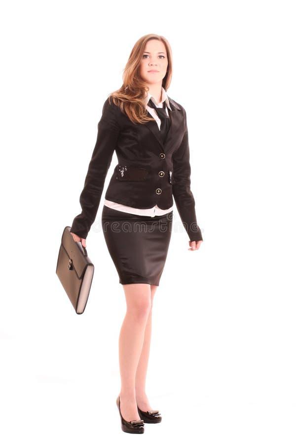 Mulher de negócios nova com saco imagens de stock royalty free