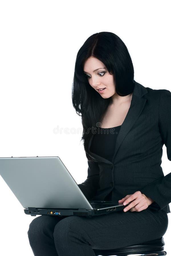 Download Mulher De Negócios Nova Com Um Portátil Imagem de Stock - Imagem de cute, azul: 12813491