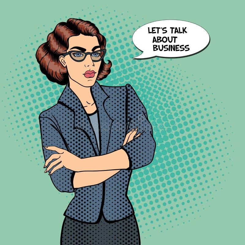 Mulher de negócios nova confiável Pop art ilustração do vetor