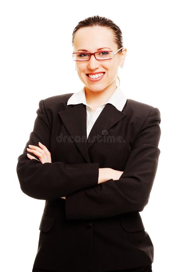 Mulher de negócios nova do smiley nos vidros foto de stock royalty free