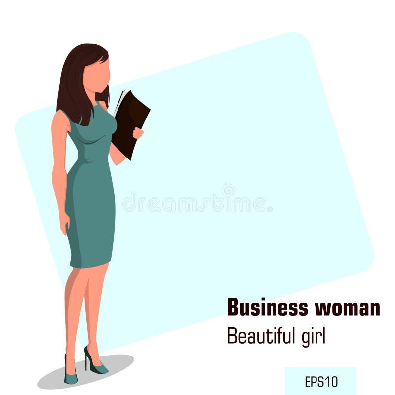 Mulher de negócios nova dos desenhos animados no vestido do escritório que guarda o caso do original Menina bonita que prepara-se ilustração royalty free
