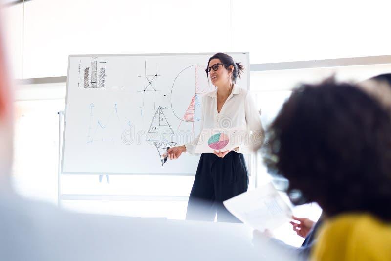 Mulher de negócios nova elegante que explica um projeto a seus colegas no lugar coworking imagens de stock royalty free