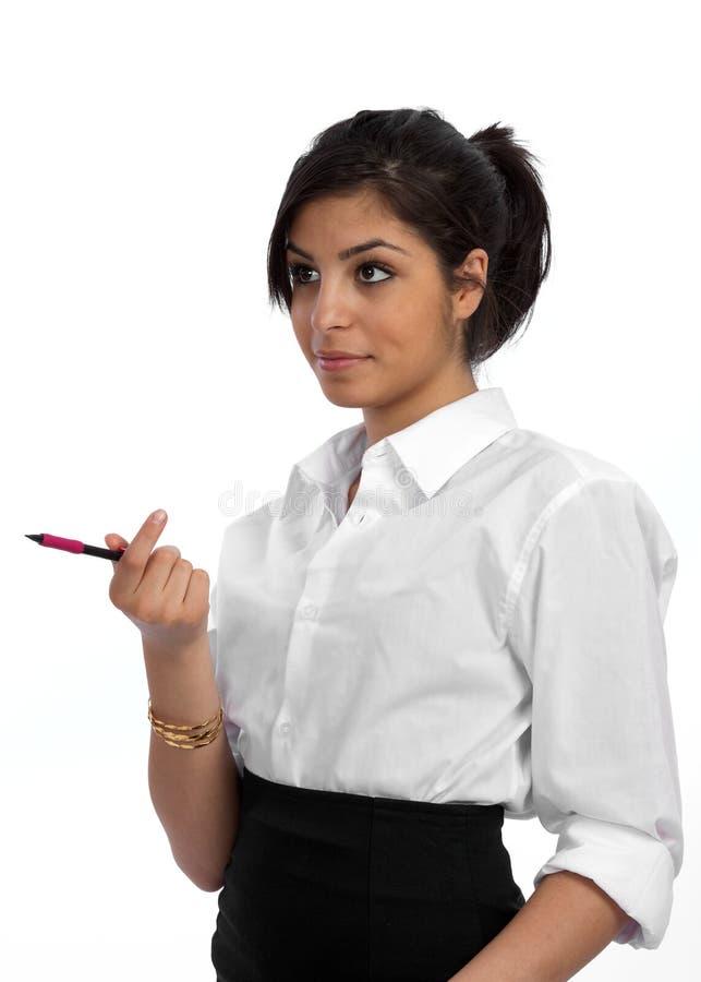 Mulher de negócios nova envolvida na discussão foto de stock