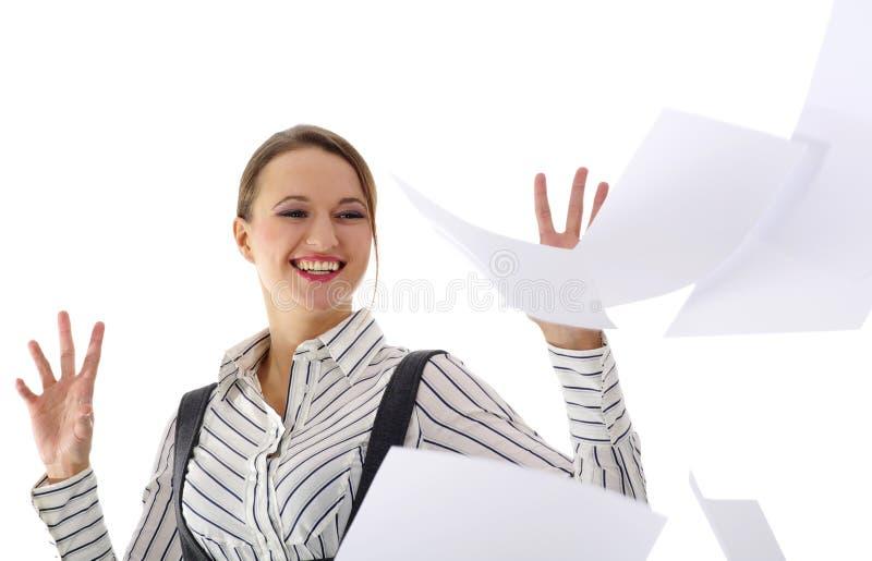 Mulher de negócios nova feliz   imagens de stock royalty free