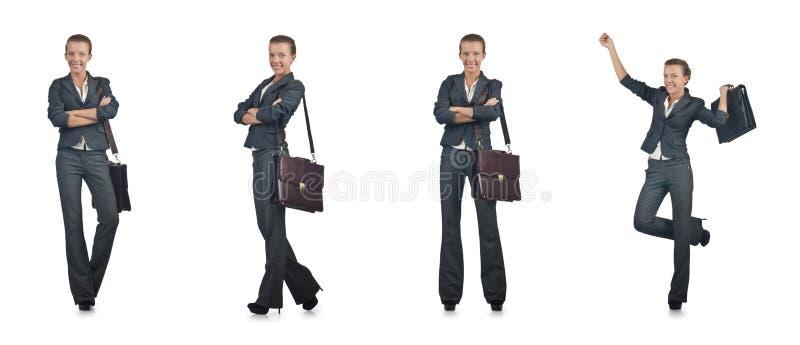 A mulher de negócios nova isolada no branco fotos de stock royalty free