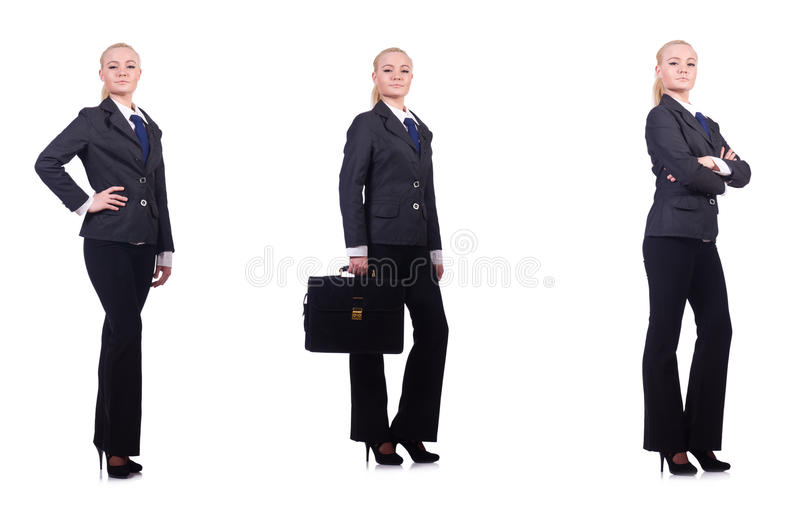 A mulher de negócios nova isolada no branco foto de stock royalty free