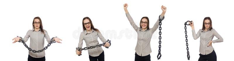 A mulher de negócios nova no conceito engraçado no branco imagens de stock royalty free