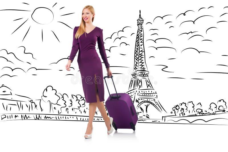 A mulher de negócios nova no curso a Paris fotografia de stock