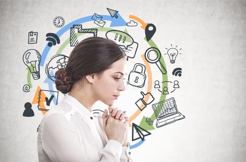 Mulher de negócios nova pensativa, ícones do computador imagem de stock royalty free