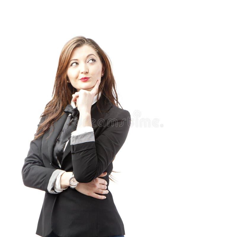 Mulher de negócios nova pensativa fotos de stock