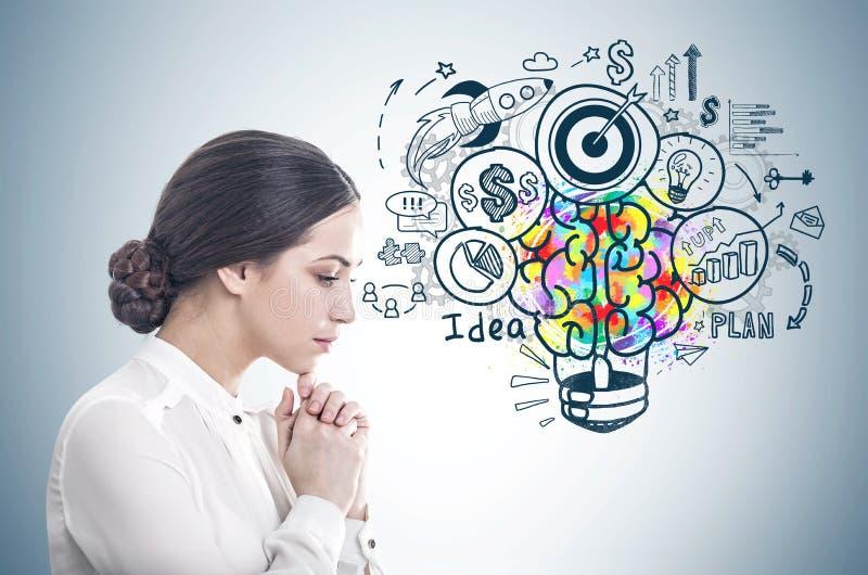 Mulher de negócios nova pensativa, ideia do negócio imagem de stock