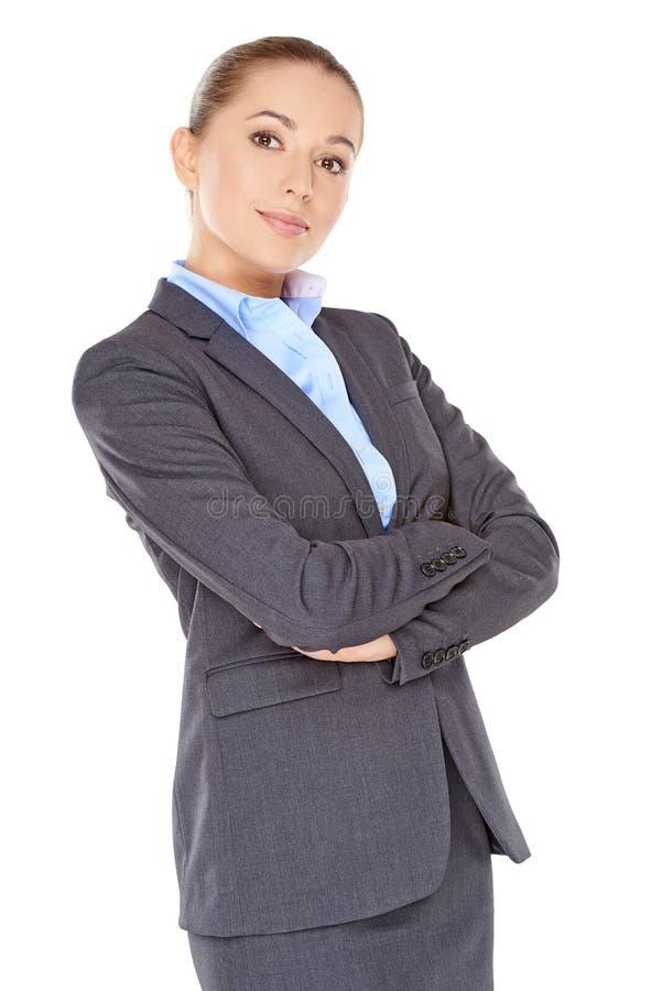 Mulher de negócios nova poised segura imagens de stock royalty free