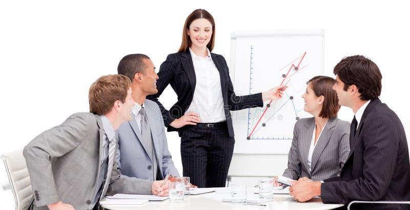Mulher de negócios nova que dá uma apresentação imagens de stock