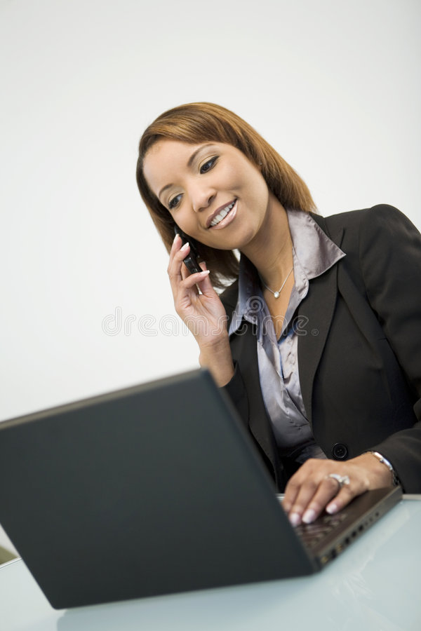 Mulher de negócios ocupada foto de stock