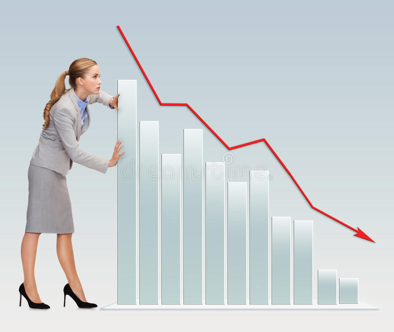 Mulher de negócios ocupada que empurra o gráfico que cai para baixo ilustração stock
