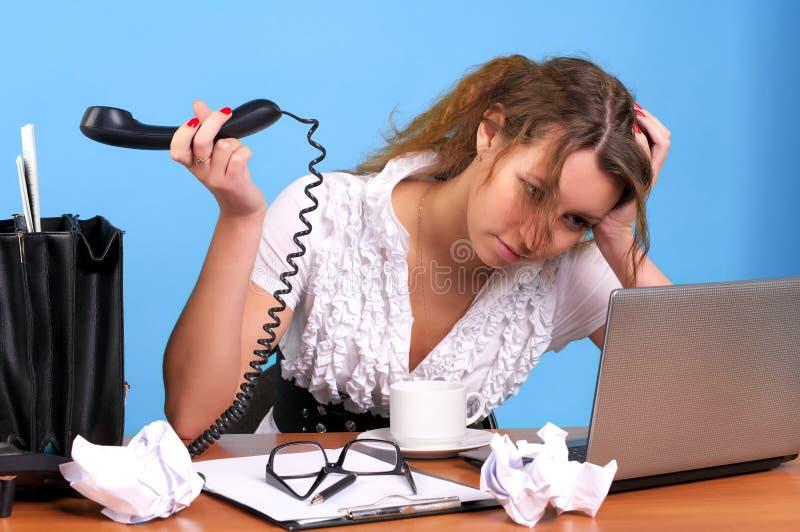 Mulher de negócios Overworked foto de stock royalty free