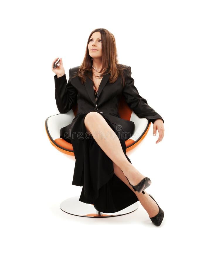 Mulher de negócios pensativa fotografia de stock