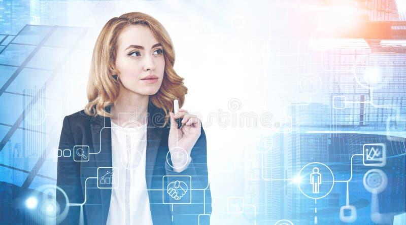 Mulher de negócios pensativa na cidade, ícones do Internet fotografia de stock