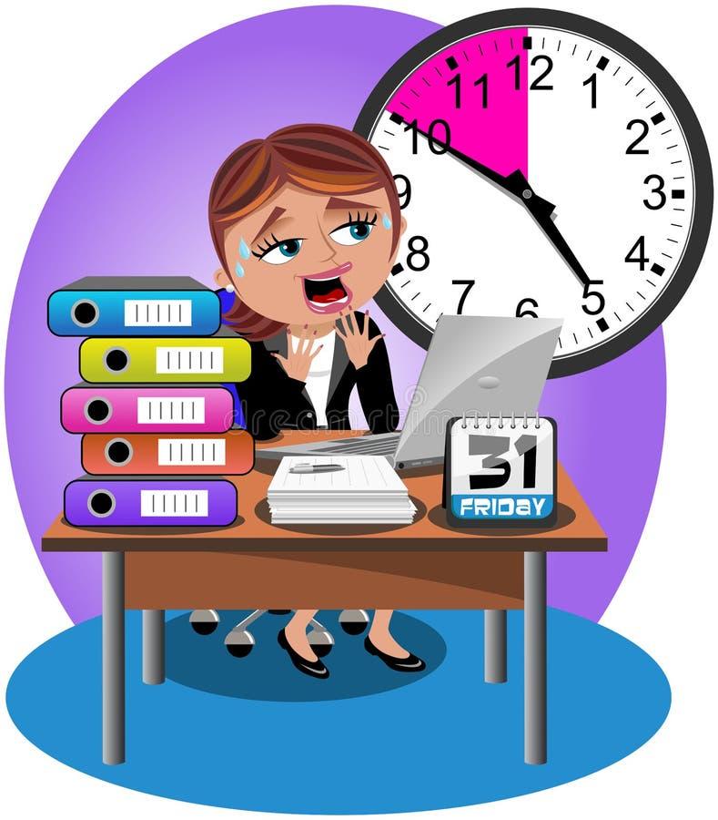 Mulher de negócios preocupada Deadline Office ilustração royalty free