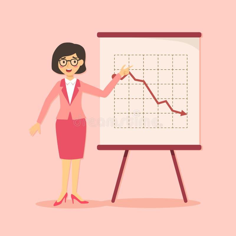 Mulher de negócios Presentation Down ilustração stock