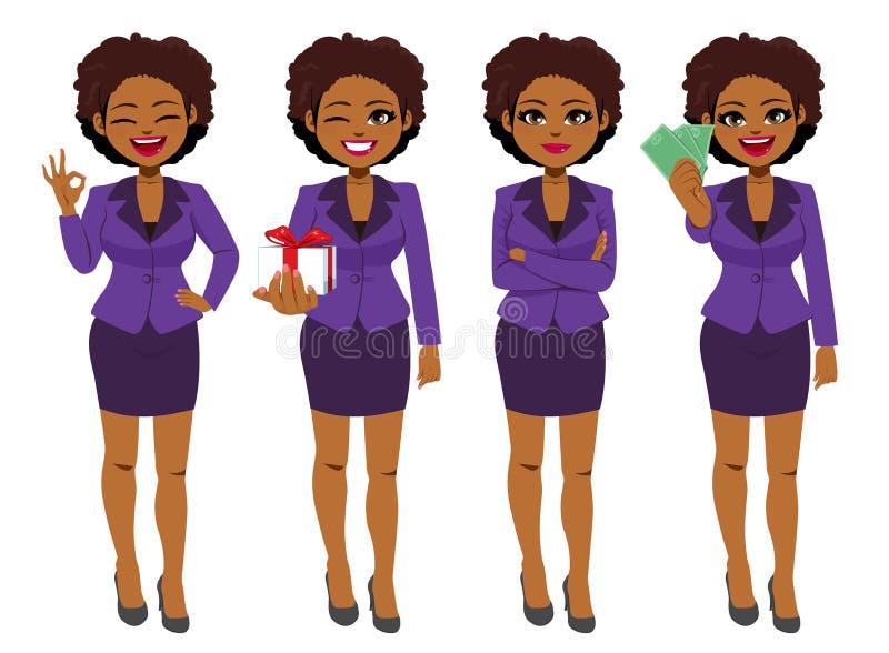 Mulher de negócios preta Set Collection Standing ilustração do vetor