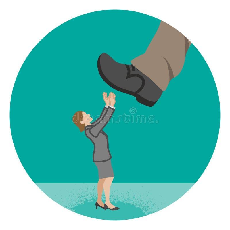 A mulher de negócios que é pisada quase pelo pé enorme - põe o ha ilustração stock