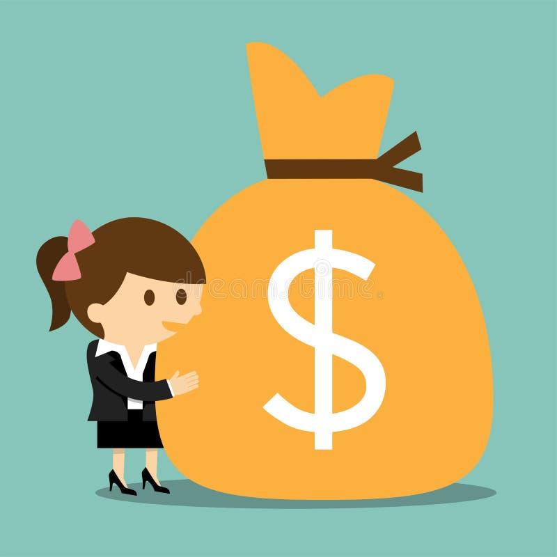 Mulher de negócios que abraça um saco de dinheiro ilustração royalty free