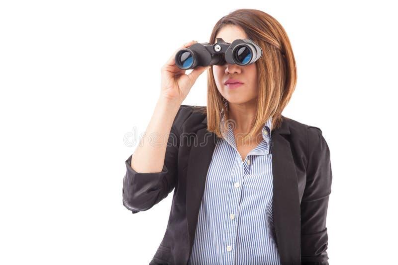Mulher de negócios que anticipa em seu negócio foto de stock