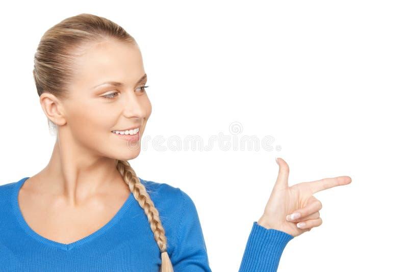 Mulher de negócios que aponta seu dedo imagens de stock royalty free