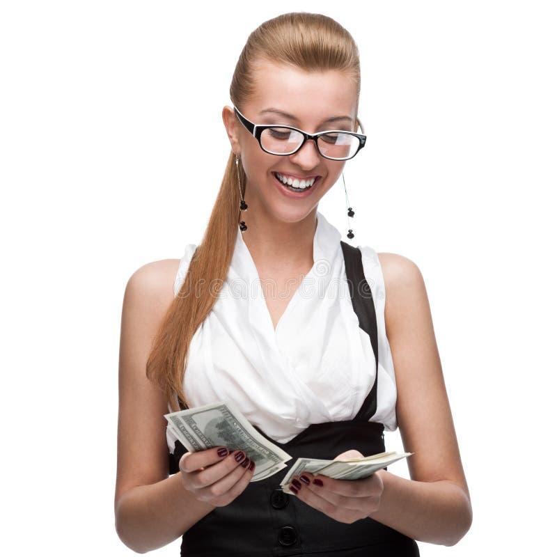 Mulher de negócios que conta o dinheiro fotografia de stock royalty free