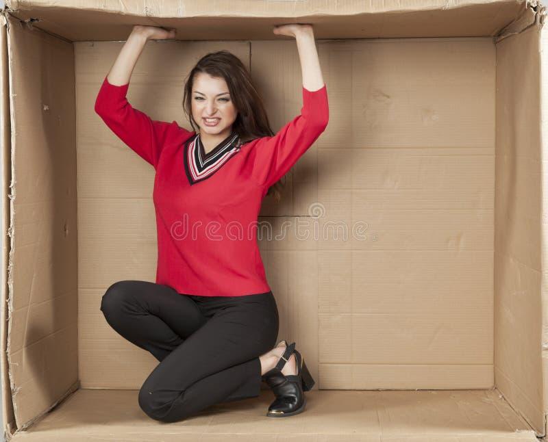 Mulher de negócios que cresce seu próprio escritório fotografia de stock