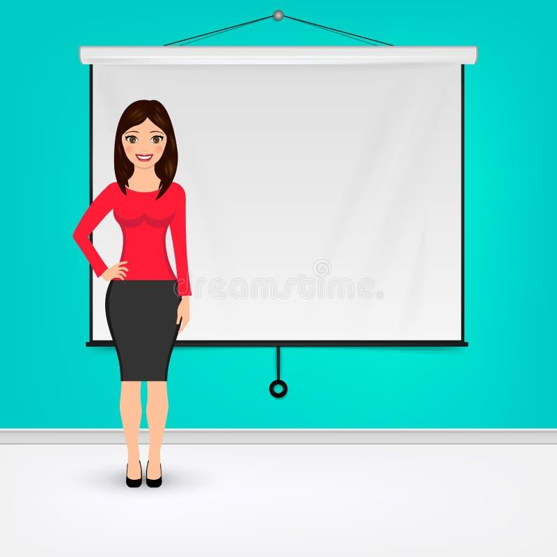 Mulher de negócios que dá a apresentação com placa branca da tela do projetor Ilustração do vetor do conceito da apresentação ilustração royalty free