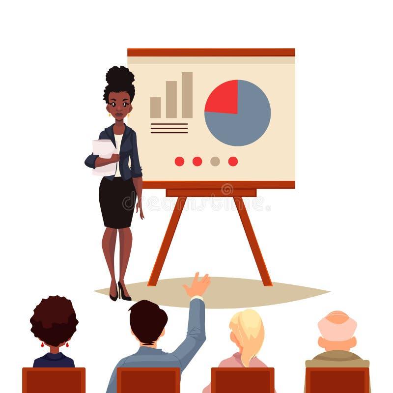 Mulher de negócios que dá a apresentação usando uma placa ilustração do vetor