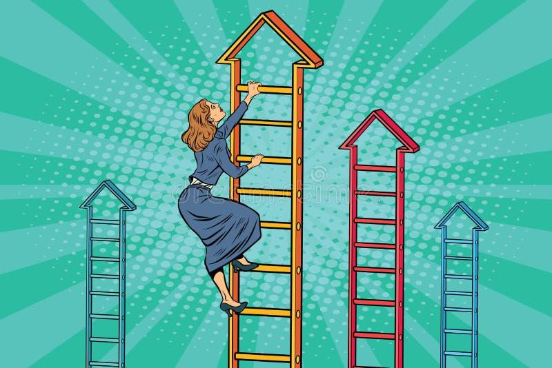 Mulher de negócios que escala acima a escada do negócio ilustração stock
