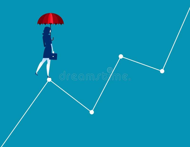 Mulher de negócios que está em gráficos Illust do vetor do negócio do conceito ilustração royalty free