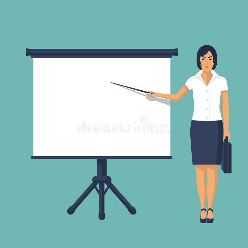 Mulher de negócios que está o whiteboard próximo que faz a apresentação ilustração stock