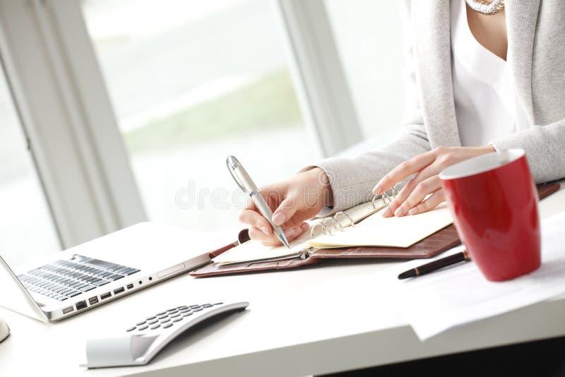 Mulher de negócios que faz anotações no escritório. fotografia de stock royalty free
