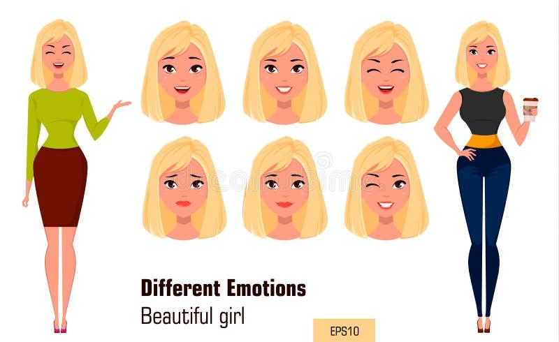 Mulher de negócios que faz expressões diferentes da cara Menina atrativa nova com várias emoções ilustração stock