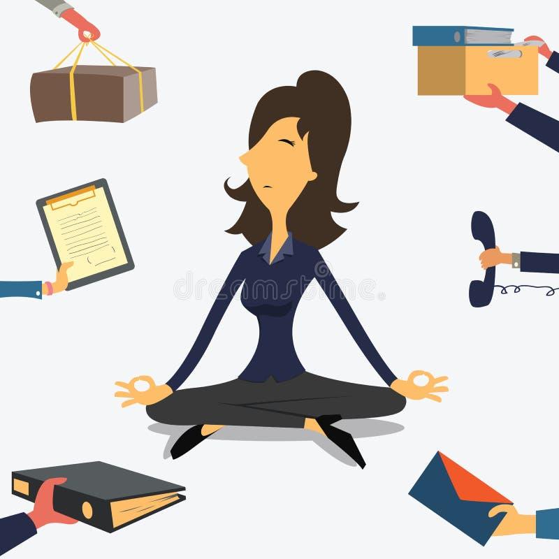 Mulher de negócios que faz a ioga ilustração do vetor