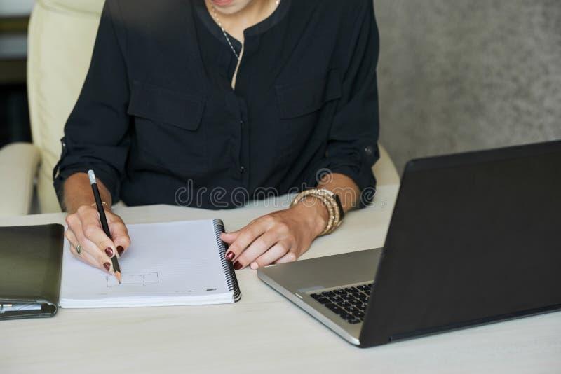 Mulher de negócios que faz o esboço para calcular o lucro imagens de stock royalty free