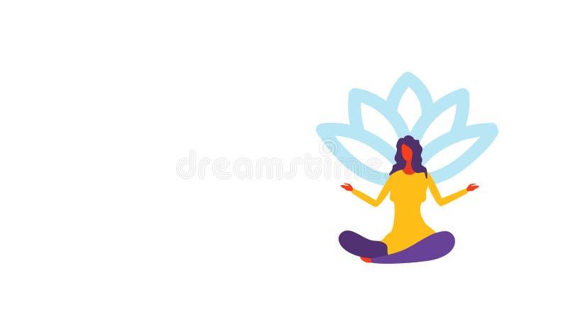 Mulher de negócios que medita a menina de assento da posição de lótus na ioga para levantar o comprimento completo do personagem  ilustração stock