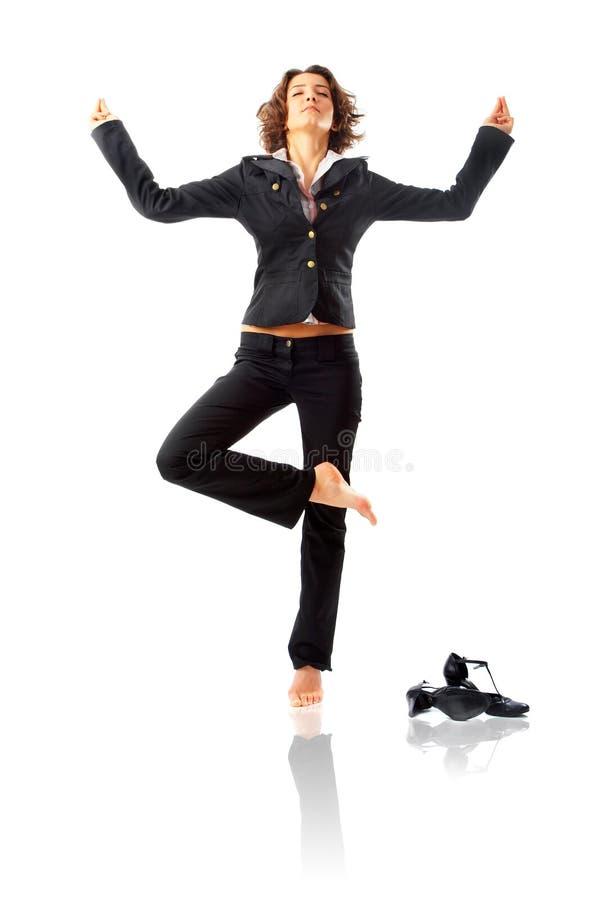 Mulher de negócios que Meditating imagens de stock