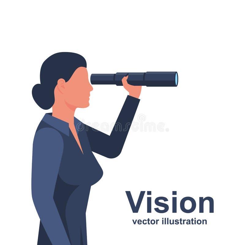Mulher de negócios que olha na posição do telescópio ilustração stock