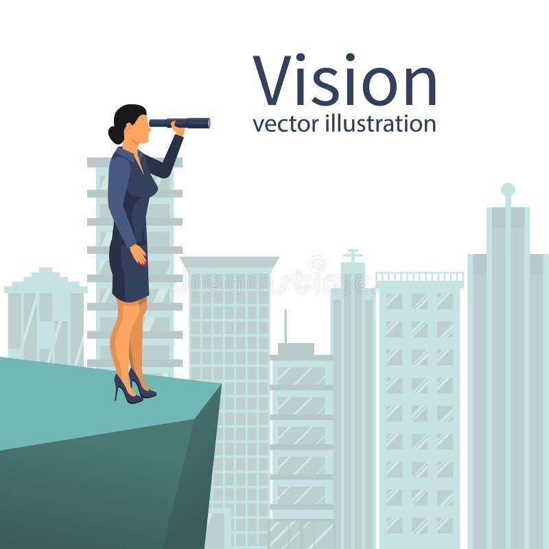Mulher de negócios que olha no telescópio que está no fundo o ci grande ilustração do vetor