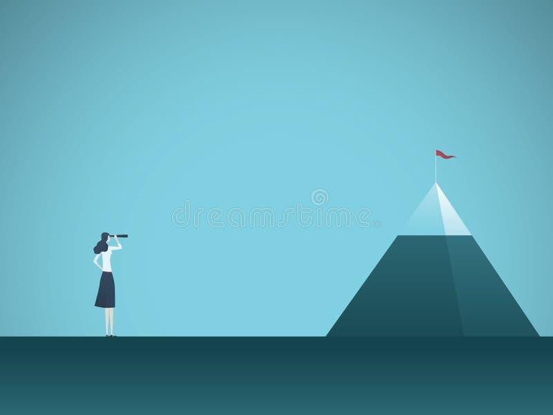 Mulher de negócios que olha o conceito do vetor da montanha Símbolo dos objetivos de negócios, dos objetivos, das oportunidades e ilustração do vetor