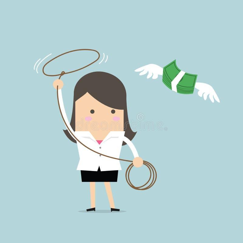 Mulher de negócios que persegue o dinheiro do voo pela corda, conceito financeiro ilustração stock