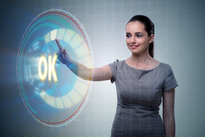 A mulher de negócios que pressiona a aprovação virtual do botão ilustração stock