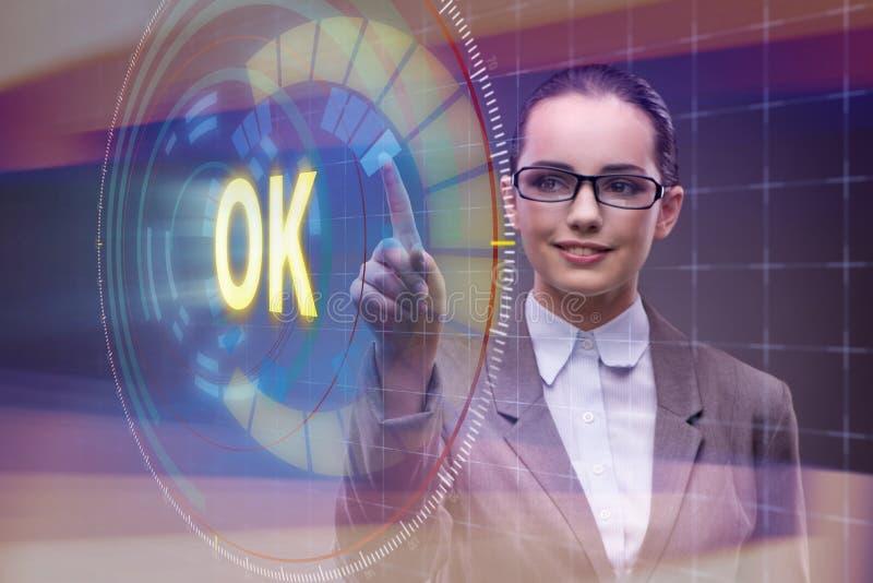 A mulher de negócios que pressiona a aprovação virtual do botão ilustração royalty free
