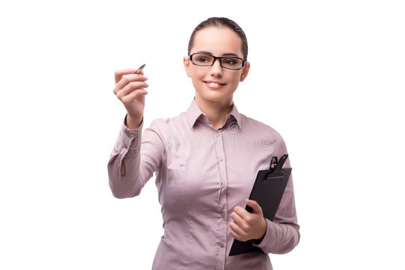 A mulher de negócios que pressiona o botão virtual isolado no branco foto de stock