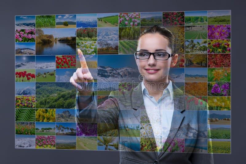 A mulher de negócios que pressiona o botão virtual na colagem da natureza imagem de stock royalty free